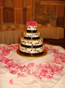 Pink rose topper and monogram